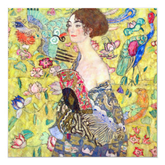 Lady with Fan by Gustav Klimt, Bridal Shower 5.25x5.25 Square Paper Invitation Card