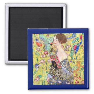 Lady with Fan by Gustav Klimt, Vintage Japonism 2 Inch Square Magnet