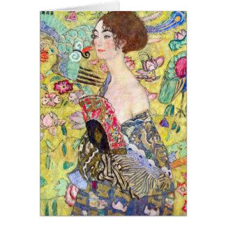 Lady with Fan by Gustav Klimt, Vintage Japonism Cards