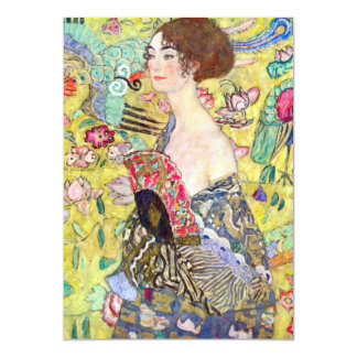 "Lady with Fan by Gustav Klimt, Vintage Japonism 5"" X 7"" Invitation Card"