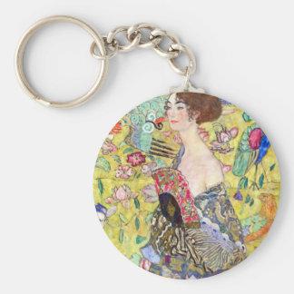 Lady with Fan by Gustav Klimt, Vintage Japonism Basic Round Button Keychain