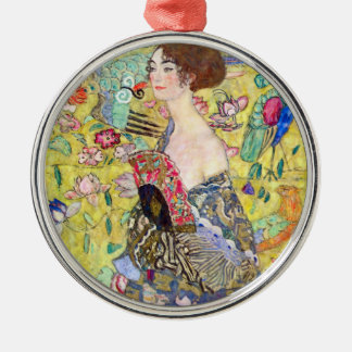Lady with Fan by Gustav Klimt, Vintage Japonism Metal Ornament
