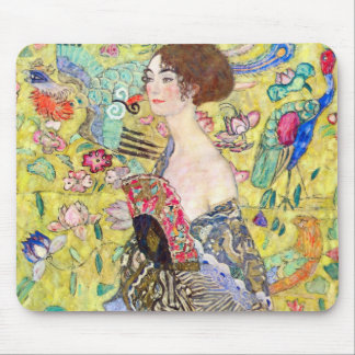 Lady with Fan by Gustav Klimt, Vintage Japonism Mouse Pad