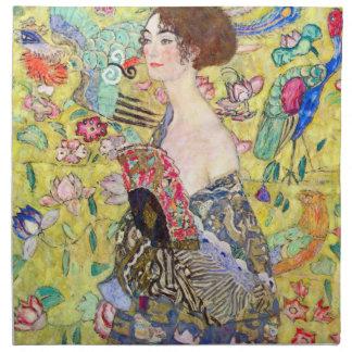 Lady with Fan by Gustav Klimt, Vintage Japonism Napkin