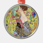 Lady with Fan by Gustav Klimt, Vintage Japonism Round Metal Christmas Ornament