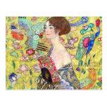 Lady with Fan by Gustav Klimt, Vintage Japonism Postcards
