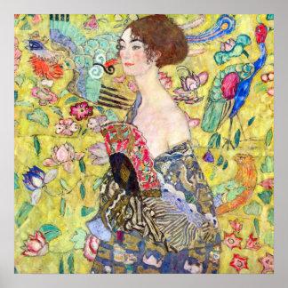 Lady with Fan by Gustav Klimt, Vintage Japonism Poster