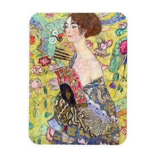 Lady with Fan by Gustav Klimt, Vintage Japonism Vinyl Magnets