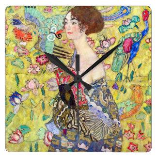 Lady with Fan by Gustav Klimt, Vintage Japonism Square Wall Clock