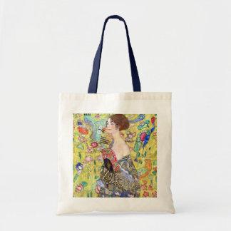 Lady with Fan by Gustav Klimt, Vintage Japonism Tote Bag
