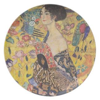 Lady with Fan - Gustav Klimt Melamine Plate