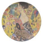 Lady with Fan - Gustav Klimt Party Plate