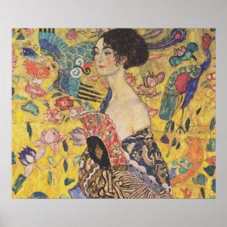 Lady with Fan - Gustav Klimt Poster