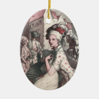 Lady with Fan in New Amsterdam Ceramic Ornament