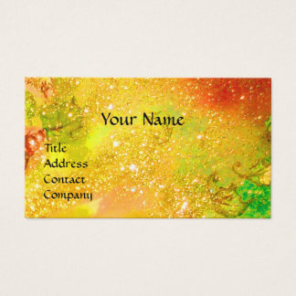 LADY WITH FEATHERED MASK MONOGRAM Gold Yellow Business Card