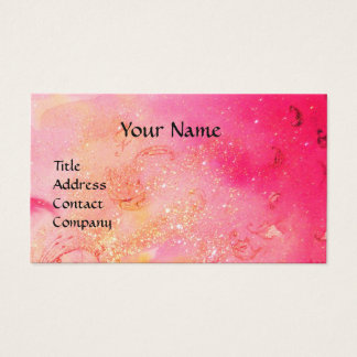 LADY WITH FEATHERED MASK MONOGRAM Pink Fuchsia Business Card