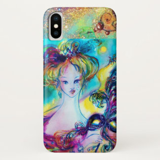 LADY WITH FEATHERED MASK Venetian Masquerade Night iPhone X Case