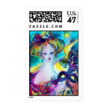 LADY WITH FEATHERED MASK Venetian Masquerade Night Postage Stamp