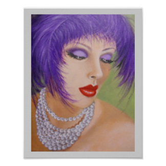 Lady with feathers in her hair poster