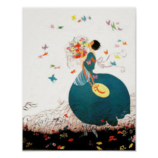 LADY WITH FLOWER BOUQUET AND BUTTERFLIES POSTER