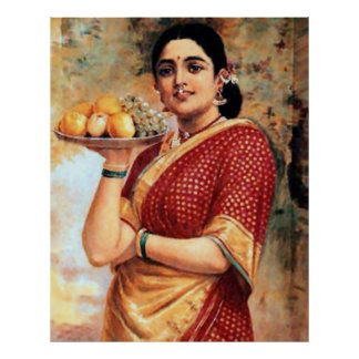 Lady with Fruits Large Poster