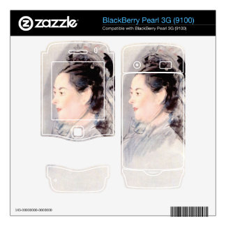 Lady with Hair Up by Edouard Manet BlackBerry Pearl Decals