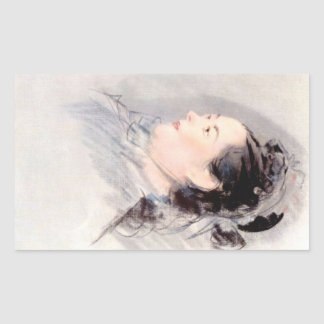 Lady with Hair Up by Edouard Manet Rectangular Stickers