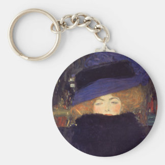 Lady with Hat and Feather Boa - Gustav Klimt Keychain