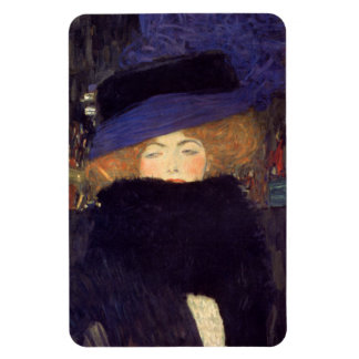 Lady with Hat and Feather Boa - Gustav Klimt Magnet