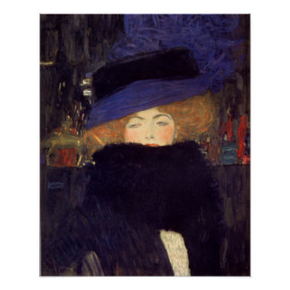Lady with Hat and Feather Boa - Gustav Klimt Poster