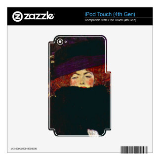 Lady with hat and feather by Gustav Klimt iPod Touch 4G Skin