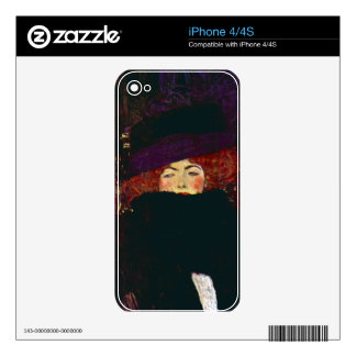 Lady with hat and feather by Gustav Klimt iPhone 4 Skins