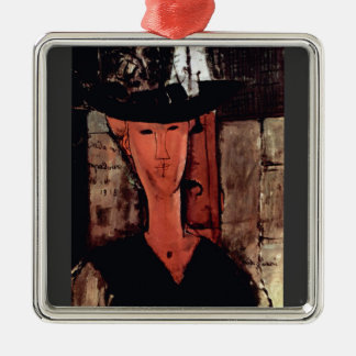 Lady With Hat by Amedeo Modigliani Christmas Tree Ornaments