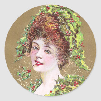 Lady with Hat of Holly Vintage Christmas Classic Round Sticker