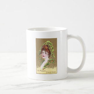 Lady with Hat of Holly Vintage Christmas Coffee Mug