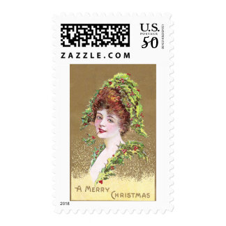 Lady with Hat of Holly Vintage Christmas Postage