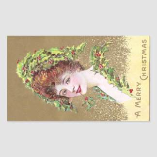 Lady with Hat of Holly Vintage Christmas Rectangular Sticker