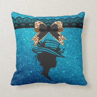 Lady with Hat Royal Blue Faux Glitter Throw Pillow
