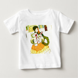Lady with her arms full of Christmas Presents Baby T-Shirt