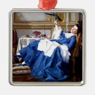 Lady with her Pet Bird antique painting Metal Ornament