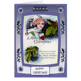 Lady with holly greeting card
