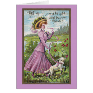 Lady With Lamb On Leash Vintage Easter Card
