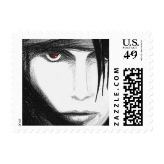 Lady with lens postage