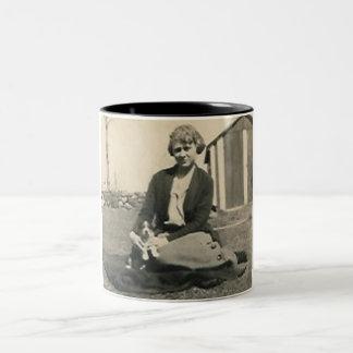 lady with little dog mug