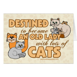 Lady With Lots of Cats Card