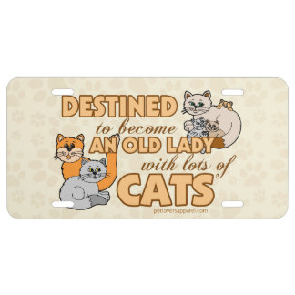 Lady With Lots of Cats License Plate