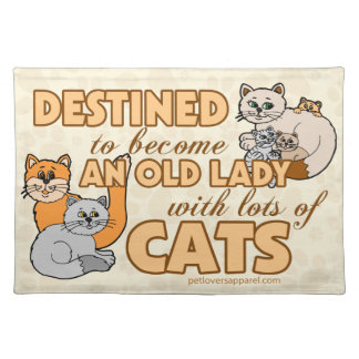 Lady With Lots of Cats Cloth Placemat