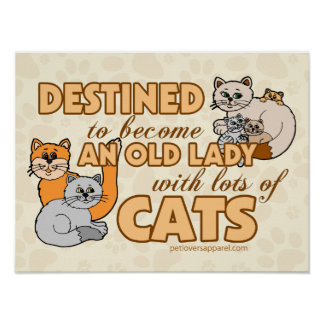 Lady With Lots of Cats Poster