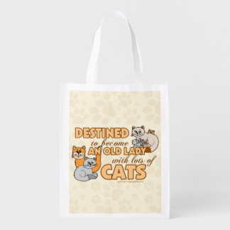 Lady With Lots of Cats Reusable Grocery Bag
