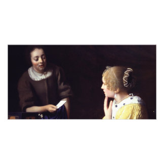 Lady with Maidservant Holding Letter by Vermeer Card